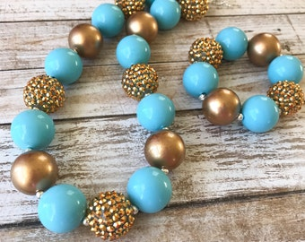 Blue and Gold Chunky Necklace, Gold Sparkle Necklace, Girl Toddler Necklace, Children's Accessories, Baby Jewelry, Blue Chunky Bracelet