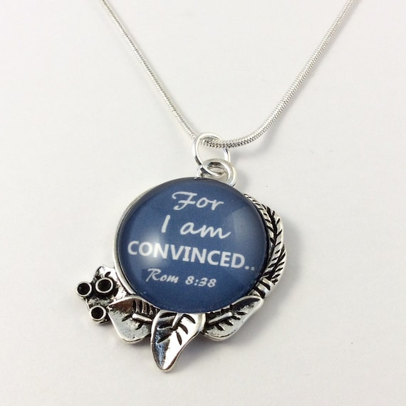 """JW """"For I an Convinced"""" Circle Leaf Pendant with 18"""" silver plated snake chain, Blue Velvet Gift Bag Included! (SKU 8)"""