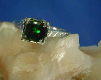 1.10 ct. Round Cabochon Black Opal Ring Art Deco Style Hand Engraved Sterling Silver