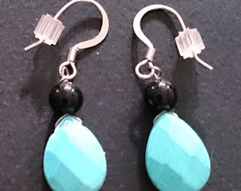 Genuine Howlite Turquoise & Bead Earrings - Round Bead x 6, Faceted Bead x 3.
