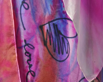 Abstract Hand Painted Silk Scarf/Painting silk scarf/Violet scarf/Hand painted accessorie/Woman silk scarf/Painted by hand/made /S0159