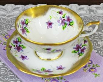 Vintage Royal Standard Purple Violets Heavy Gold Gilding Floral English Bone China Teacup and Saucer, Wedding Tea Party Favor