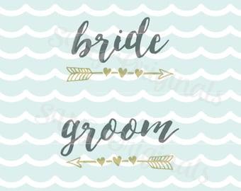 Wedding SVG Bride SVG and Groom SVG arrow set. Cricut Explore and more! Wedding Bridal