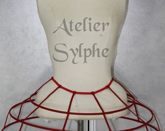 Deep red color Crinoline hoop cage skirt pannier 3 rows elastic waist simple cage