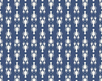 Laminated Cotton aka Oilcloth heavyweight SPLAT MAT, Navy with Ivory Lobsters, choose your size
