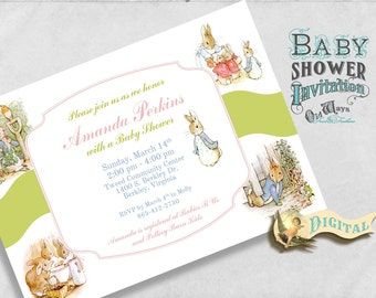 The Tale of Peter Rabbit Baby Shower Invitation Gender Neutral Boy Girl - Custom Invitation Baby Shower Printable File 5x7