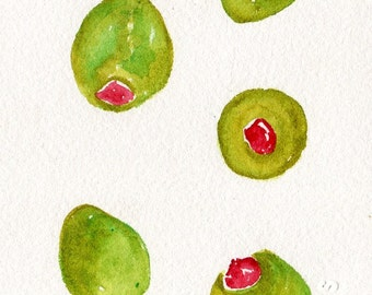 Green Olives watercolor painting original  4 x 6  olive art, kitchen wall art, food art, olive illustration, SharonFosterArt Farmhouse Decor