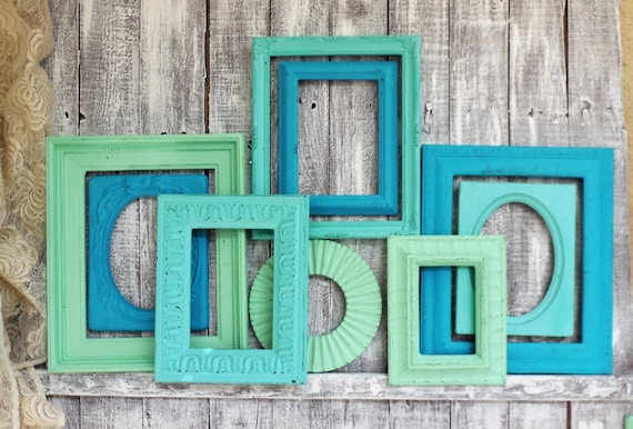 Blue Frame Set, Teal Turquoise and Mint Picture Frames, Gallery Wall ...