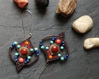 Macrame and Red Jasper earrings