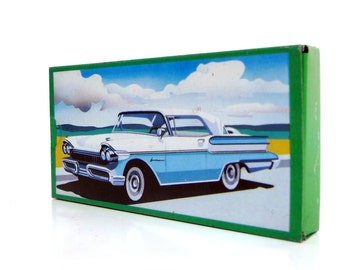 Vintage Swiss Candy Tin Box - Retro Mints Metal Box with Slide Lid - Vintage Cars Serie