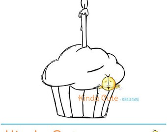 Cupcake Digital Stamp (black/white only). Birthday clipart. Birthday digital stamps. Digital stamps for card making, scrapbook and planners.