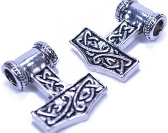Thor Hammer Bead For Paracord Or Leather Work - 5 Pack