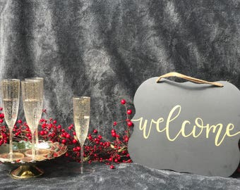 Welcome Hanging Chalkboard Sign