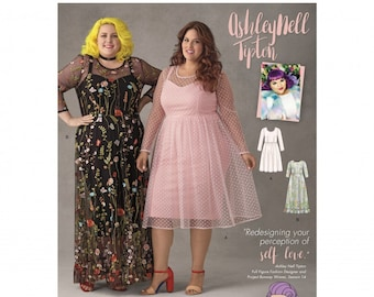 Simplicity Pattern 8471 Ashley Nell Tipton Women's Dresses in Two Styles Plus Size 26W-34W