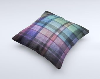 The Multicolored Vintage Textile Plaid ink-Fuzed Decorative Throw Pillow
