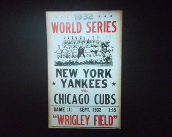 New York Yankees vs. Chicago Cubs 1932 Print Poster Reproduction Baseball Fan Wall Art Nice Color 22  x 14  World Series Sports Decor & Yankees art | Etsy