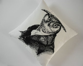 Old Wise Owl silk screened cotton canvas throw pillow 18 inch black unbleached