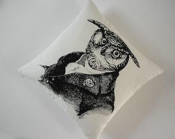 Vieux hibou sage soie coton filtré toile throw pillow 18 pouces noir écru