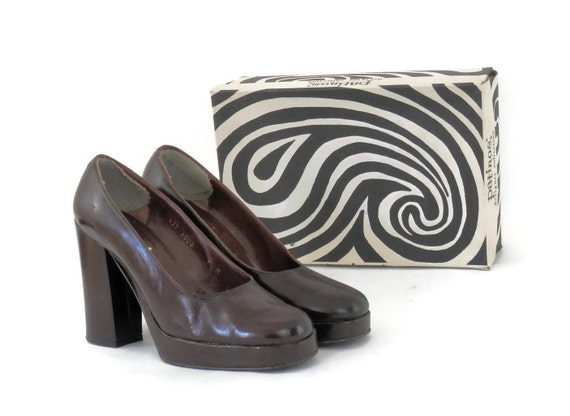 Platform Patinos by 7M Psychedelic Dark Brown 70s 1973 sz Original Ladies Receipt Shoes Leather Mod Patent with Print for box and nYRwqxCx5