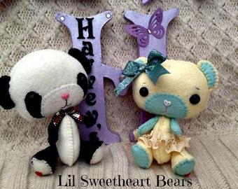 Handmade Felt Bear - Gingermelon Lil Sweetheart Bear - Made to Order