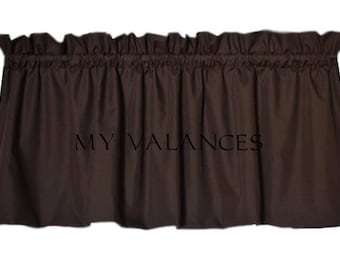 Solid Chocolate Brown window curtain valance.  Kids boys girls room kitchen bathroom bedroom topper LINING option