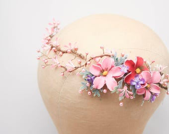 Rustic Floral Hair Vine in Shades of Blush and Pink with Pearls Beaded Woodland Wedding Halo Flower Crown Boho Wedding Bridal Hair Wreath