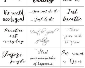 Maremi's Stickers 'SMALL SAYINGS' mixed media, art journaling