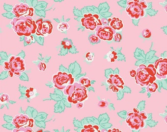 Pink Floral Fabric, Pink Roses Fabric, Milk Sugar & Flower, Penny Rose C4340, 1930s Feedsack Reproduction Quilt Fabric, Cotton Yardage