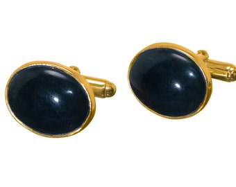 Black Onyx Cufflinks Mini Oval Traditional Regnas Gold Plated Sterling Silver 925