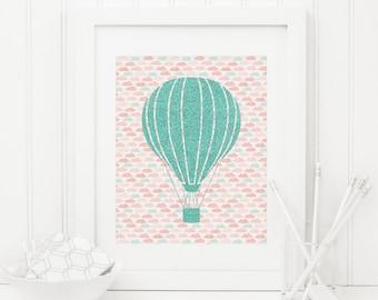 Nursery Hot Air Balloon Printable Cloud Print Mint Nursery Decor Coral Nursery Wall Art Nursery Balloon Decor Balloon Wall Art Teal Nursery