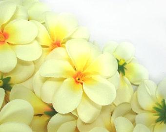 12 Cream Yellow Plumeria Frangipani Heads - Artificial Silk Flower - 3 inches - Wholesale Lot - for Wedding Work, Make Hair clips, headbands
