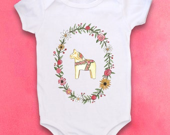 Dala Horse, Swedish Baby, Scandinavian, Cute Baby clothes, Baby bodysuit, Horse, Flowers, Baby Flower crown, Flower baby shower, Baby girl