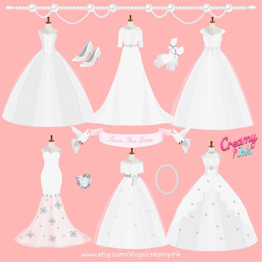 Vestido Digital Vector Clip art de novia / boda vestido