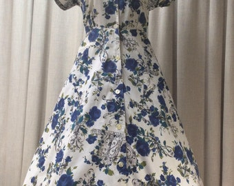 Vintage 1950's Button Thru Cotton Dress Blue Rose & Wrought Ironwork Novelty Print Label: Banner UK Size 10-12 Original Vintage 50's Fifties