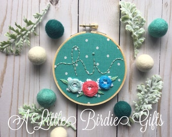 Mini Hand Embroidered Hoop Embroidered Flowers Hand Stitched Home Decor