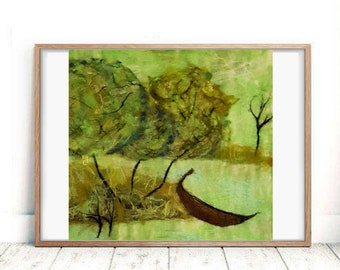 Felted painting Large green painting canvas Emerald wool decor Row boat Plein air Spring treescape Nature wall art Apartment therapy Felt