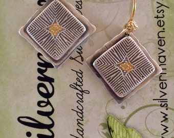Fine Silver and Gold Earrings - PMC and 24k Gold Dangles - Keum Boo Earrings - Mother's Day