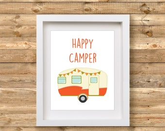 Happy Camper Printable | Camper Print Wall Art | Camping Decor | Glamping Printable | Glamping Decor | Wanderlust Decor Printable