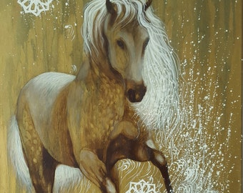 SALE -  Arabic Horse  original art, oil painting on canvas home decor by InterArtShop 50×70cm .