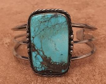 Vintage Navajo Morenci Turquoise Window Sterling Silver Bracelet