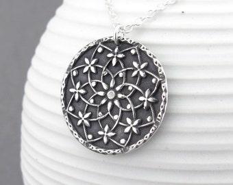 Silver Mandala Necklace Hippie Jewelry Boho Jewelry Unique Silver Jewelry Handmade Holiday Gift for Wife - Filigree Mandala