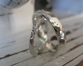 Hammered Sterling Silver Wedding Band Set Unique Wedding Ring Set Silver Wedding Rings Skinny Silver Ring Commitment Friendship Promise