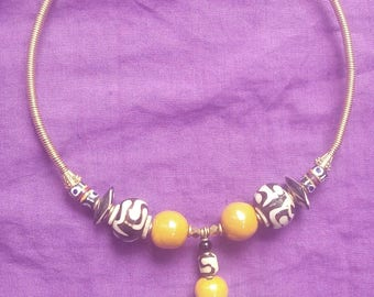 Ceramic Beads choker, Handmade necklace, Brass necklace, Ceramic beads, Cow bone beads, Statement Necklace, Boho necklace