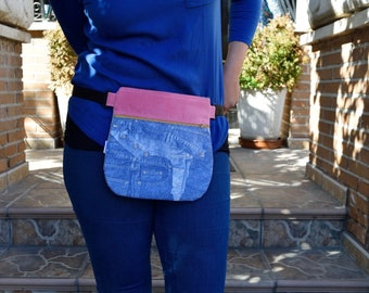 Waist bag,fanny pack,reversible waist bag,denim fanny pack,music waist bag,reversible purse,reversible handbag,jeans waist bag,hips bag