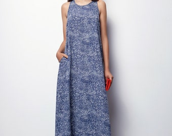 MOTHERS DAY GIFT, Loose Maxi Dress, Loose Dress, Blue Maxi Dress, Casual Dresses for Women, Summer Maxi Dress, Long Summer Dress, blue dress