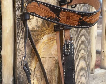 Sale! Leather feather headstall, ready to ship