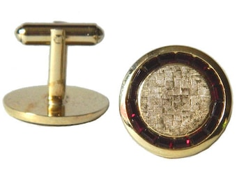 Vintage 1950s Red and Gold Cuff Links