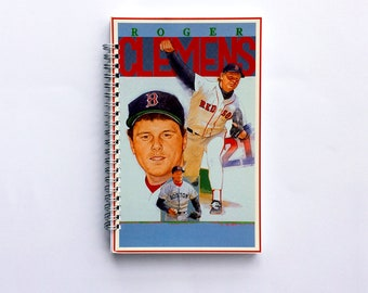 Vintage Boston Red Sox Gifts, Baseball Coach Gift Ideas, Baseball Mom/Dad, Roger Clemens, Upcycled Notebook, Spiral Notebook Journal