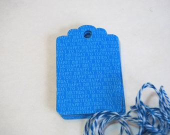 Handmade Birthday Tags - 16 Happy Birthday to You! Blue Gift Tags w Blue and White Striped Twine  - 1.5 inches x 2.5 inches - Ready to ship