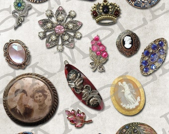 Vintage Jewelry Collage Sheet 2